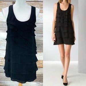 Theory Dorosa Silk Mini Dress Tiered Ruffle Black